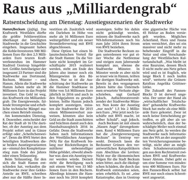 Quelle: Stadtanzeiger Hamm, 05.12.2015, Seite 7