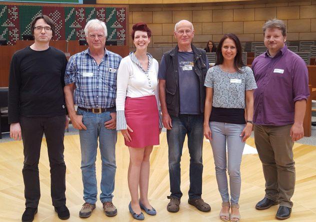 v.l.n.r.: Jürgen Blümer (Drensteinfurt), Rudi Närger (Drensteinfurt), Wibke Brems(MdL, Bündnis 90 / Dir Grünen), Hartmut Batzke (Hamm), Andrea Pfeifer (Hamm), Rüdiger Brechler (Hamm)