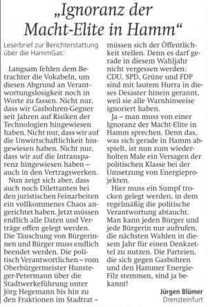 Leserbrief Jürgen Blümer