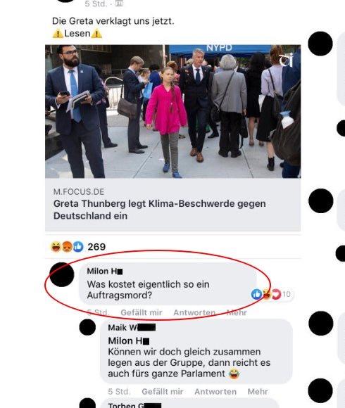 """Facebook-Kommentar zu Greta Thunberg: """"Was kostet eigentlich so ein Auftragsmord?"""""""
