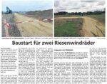 """WA vom 05.10.2020: """"Baustart für zwei Riesenwindräder"""""""