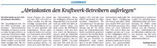 Leserbrief im WA von Karlheinz Röcher, 08.12.2020