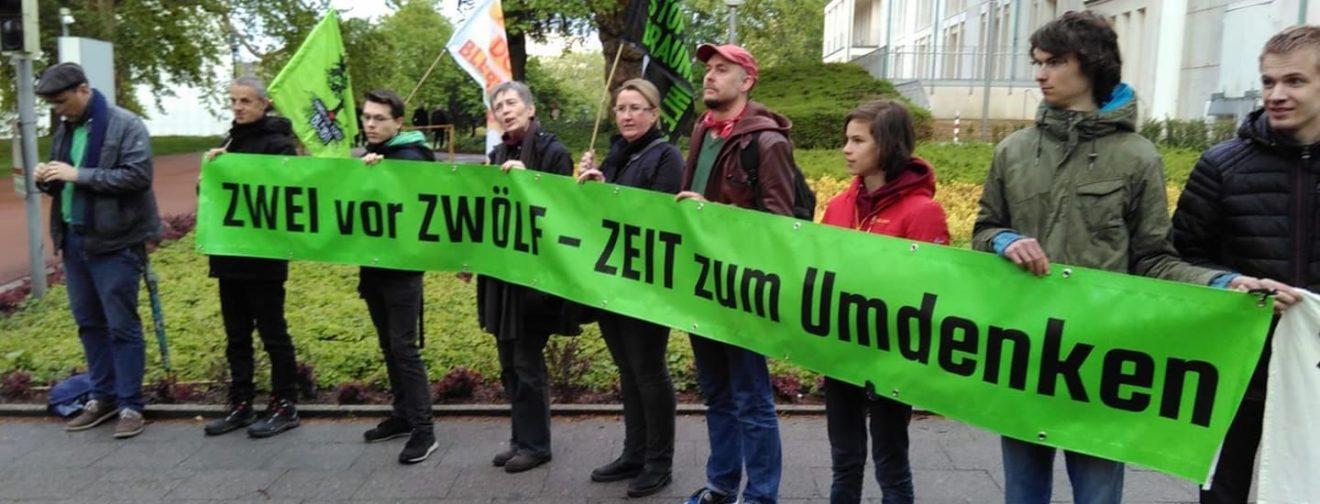 Banner FFF Hamm für Mobilisierung Demo gegen RWE
