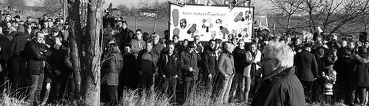 Banner der BI 'Kein Industriegebiet Geithe'