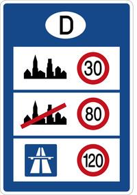 Schild Geschwindigkeitsbegrenzung 30-80-120