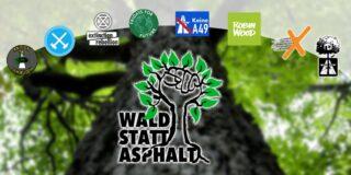 Montage Bündnis 'Wald statt Asphalt'