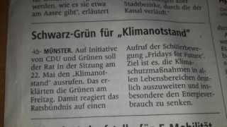 Presse zum Klimanotstand Münster WN 18.05.2019