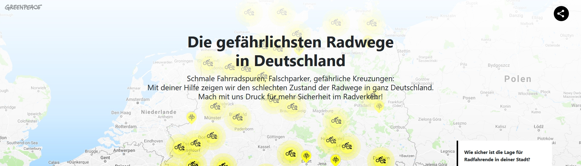 Greenpeace Kampagne #Radgefahren